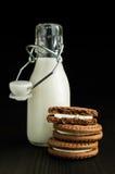 Milch in einer Flasche mit Kakaoplätzchen Stockbild