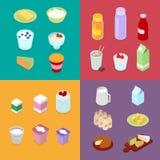 Milch-Industrie-Produktion Milchprodukte mit Milchflasche, Creme und Käse Isometrische flache Illustration 3d Stockfotografie