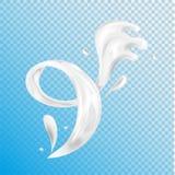 Milch, Jogurt, spritzend, Vektorillustration Lizenzfreie Stockfotografie