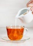Milch lief in Tasse Tee aus stockbilder