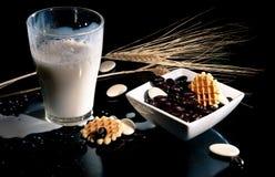 Milch mit chocolade Kaffeebohnen und waffels Lizenzfreies Stockbild