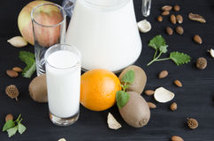 Milch mit Fruchtminze stockfotografie