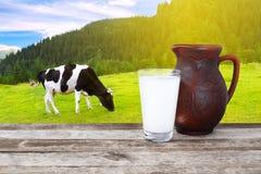 Milch mit Kuh auf dem Hintergrund Stockbild