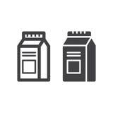 Milch- oder Juice Carton Box Pack-Linie und feste Ikone Lizenzfreie Stockbilder