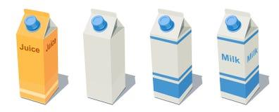 Milch-Satz und Saft stock abbildung