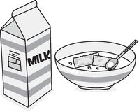Milch u. Getreide stockbild