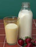 Milch u. Strawberrys Lizenzfreie Stockfotografie