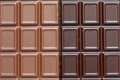Milch und dunkle Schokolade Stockfoto
