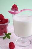 Milch und Himbeere Stockbild
