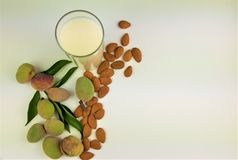 Milch und Mandel mit Blatthintergrund lizenzfreie stockfotos
