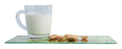 Milch und Plätzchen Stockbilder