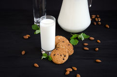 Milch und Plätzchen mit Minze Lizenzfreies Stockfoto