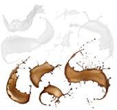 Milch- und Schokoladenansammlung Stockfoto