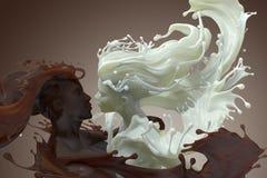 Milch- und Schokoladenkaffeemann und weibliche Skulptur 3d lizenzfreie stockfotografie
