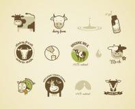Milchaufkleber, -elemente und -ikonen Stockfotografie