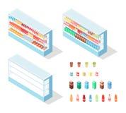 Milchiges Lebensmittel im Lebensmittelgeschäft-Schaukasten-isometrischen Vektor Lizenzfreies Stockfoto