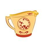 Milchkrugteil Porzellan Whit-Rotblumen Lizenzfreie Stockbilder