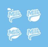 Milchlogos eingestellt Stockfotos