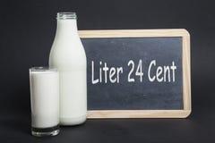 Milchpreis 24 Cent Stockfotografie