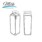 Milchprodukt-Vektorsammlung Melken Sie Kasten Hand gezeichnete Abbildung lizenzfreie abbildung