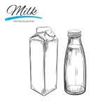 Milchprodukt-Vektorsammlung Milchkasten und -flasche Hand gezeichnete Abbildung stock abbildung