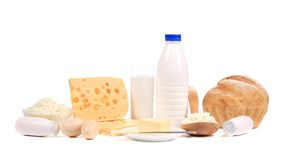 Milchprodukte, Eier und Brot Stockfotos