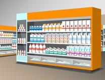 Milchproduktregal im Speicher Stockfotos