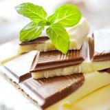 Milchschokolade mit frischer Minze Lizenzfreie Stockbilder