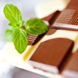 Milchschokolade mit frischer Minze Lizenzfreie Stockfotos
