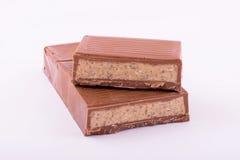 Milchschokolade mit Marzipan Stockfoto