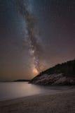 Milchstraße-Galaxie am Sand-Strand Lizenzfreie Stockbilder