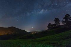 Milchstraßestern und Teeplantage in Cameron-Hochländern, Malaysia Stockbilder