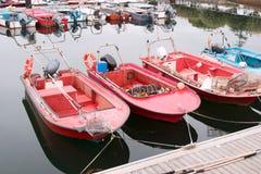 Milczka aquaculture łodzie na molu fotografia royalty free