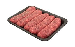 Mild bratwurst sausages in a black tray Royalty Free Stock Images