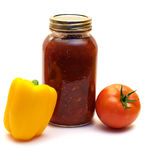 Mild Salsa. A mild salsa made with tomatoes and mild peppers stock photo
