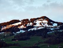 The mild slopes of the Grossberg mountain, above the Seeztal valley. Canton of St. Gallen, Switzerland royalty free stock images