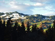The mild slopes of the Grossberg mountain, above the Seeztal valley. Canton of St. Gallen, Switzerland royalty free stock image