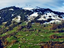 The mild slopes of the Grossberg mountain, above the Seeztal valley. Canton of St. Gallen, Switzerland royalty free stock photo