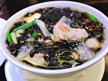 Mild soup with seaweed and minced pork. Mild soup with seaweed and minced pork in Thailand royalty free stock photo