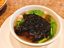 Mild soup with seaweed and minced pork. Mild soup with seaweed and minced pork in Thailand royalty free stock photography