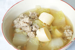 Mild soup with vegetables, pork and bean curd. Pic of Mild soup with vegetables, pork and bean curd Royalty Free Stock Image