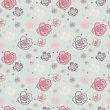 Mildern Sie nahtloses Muster mit den großen und kleinen Rosen lizenzfreie abbildung