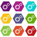 Mildew virus icons set 9 vector. Mildew virus icons 9 set coloful isolated on white for web Stock Image