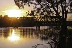 Mildura-Curlwaa- Murray River. Curlwaa Bridge on the Murray river, NSW. Near Mildura - a winter sunset Stock Images