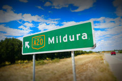 Mildura Road Sign Stock Photo