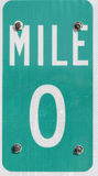 Mile 0 sign. On the Florida scenic highway 1 Stock Photography