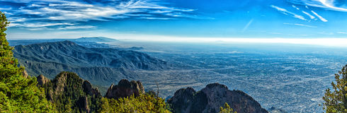 A mile above Albuquerque. A view of Albuquerque, New Mexico Elev. 5,312 ft. from the 10,678 foot elevation of Sandia Crest royalty free stock photos