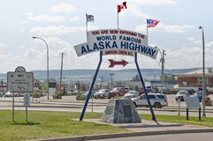 Mile 0 - Alaska Highway royalty free stock image