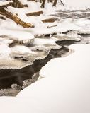 18mile creek in winter small stream with ice cover royalty free stock photo