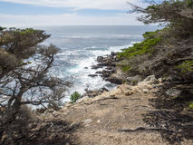 17-Mile Drive. Is a scenic road through Pebble Beach and Pacific Grove on the Monterey Peninsula in California, much of which hugs the Pacific coastline and Stock Image